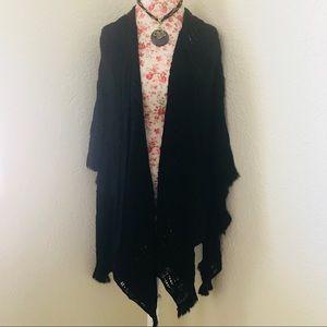 Black Crochet Poncho Style Cardigan